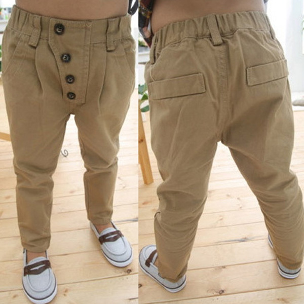 Newest Children Baby Clothes Kid Boys Retro Khaki Casual Pants Straight Trousers 2 7Y