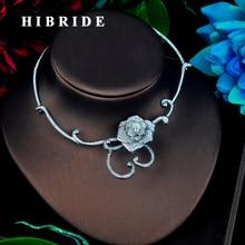 HIBRIDE יופי כלה שרשרת AAA מעוקב Zirconia פרח עיצוב Chorker תכשיטים תליון אביזרי N 675