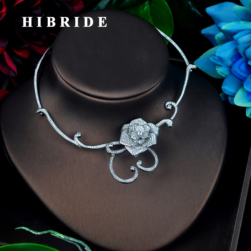HIBRIDE Beauty Bridal Ketting AAA Zirconia Bloem Ontwerp Chorker Mode Sieraden Hanger Accessoires N 675-in Sieradensets van Sieraden & accessoires op  Groep 1
