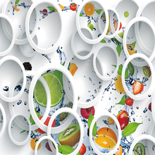 3D Wallpaper Minimalist  White Ring Cycle Fruits