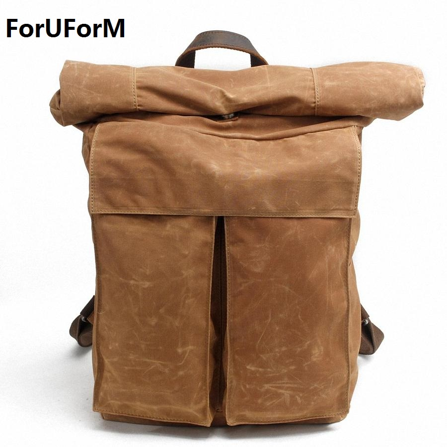 Vintage Men waterproof Canvas Backpack Fashion School Bag Casual Travel Rucksack 17 inch Laptop bolsas mochila LI-1490 vintage multifunction business travel canvas backpack men leisure laptop bag school student rucksack