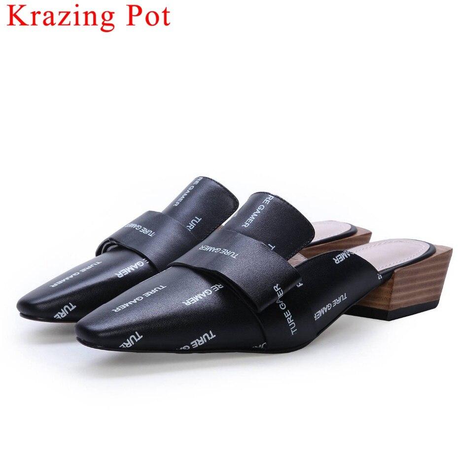 Krazing Olla natural hecho a mano de cuero, sandalias de cuadrado del dedo del pie de med tacones diseñador original de primavera elegante de las mujeres L16-in Zapatos de tacón de mujer from zapatos    1