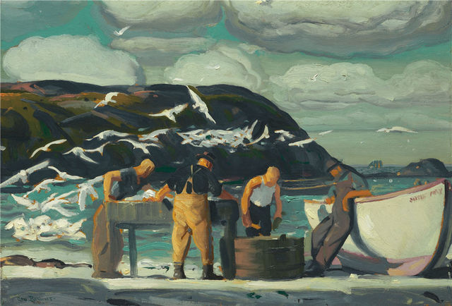 Realist Painter George Wesley Bellows Cleaning Fish 1913 Oil Painting Canvas Print Art