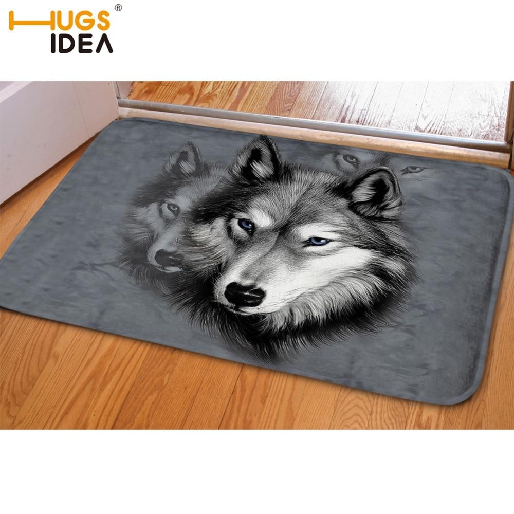 HUGSIDEA Αστεία Front Entrance Πόρτα Χαλί 3D Ζώα Wolf Dog Husky Πατώματα Χαλιά για σαλόνι Υπνοδωμάτιο Non-Slip Κουβέρτες κουζίνας