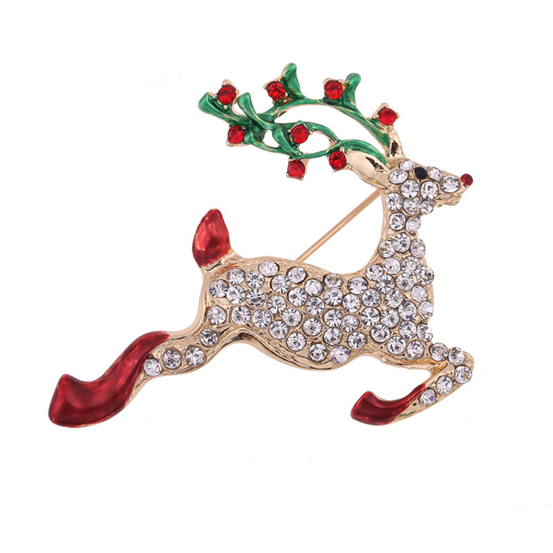 d39c63a3bb6 SHOWTRUE New Fashion Colorful Deer Brooch For Women Crystal Reindeer Moose  Gold Silver Color Pins Brooches Pins Christmas Gifts