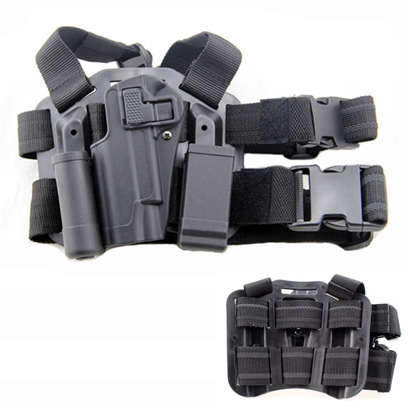 Left Hand Airsoft Pistol Hunting Combat Tactical Gun Holster Quick Drop Leg Holster With Magazine Flashlight Pouch For Colt 1911