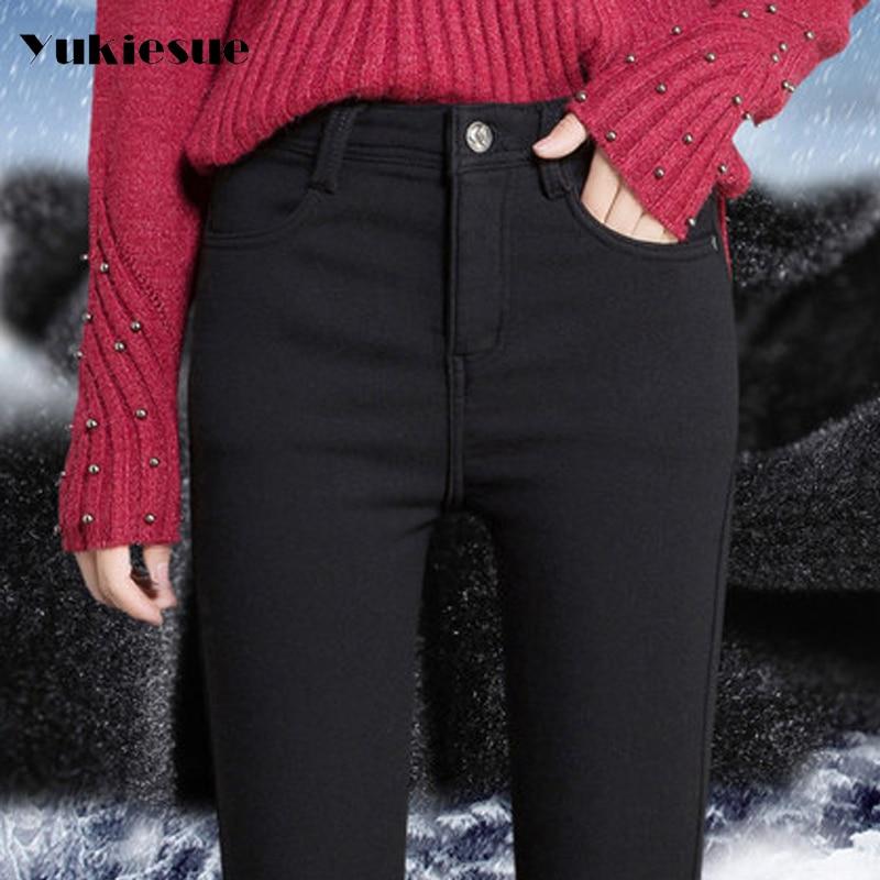 2017 Winter Warme Jeans Frau Hohe Taille Candy Farbe Dünne Dünne Denim Bleistift Hosen Weibliche Jeans Plus Sie 25- 34 Jeans Femme Mujer