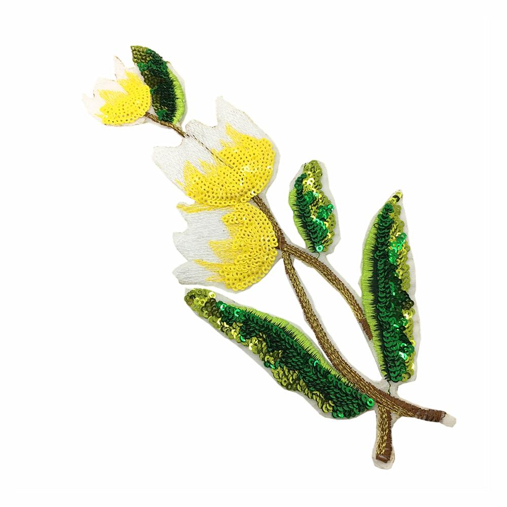 4 unid hierro en tulipán flor parche lentejuelas flores apliques con - Artes, artesanía y costura