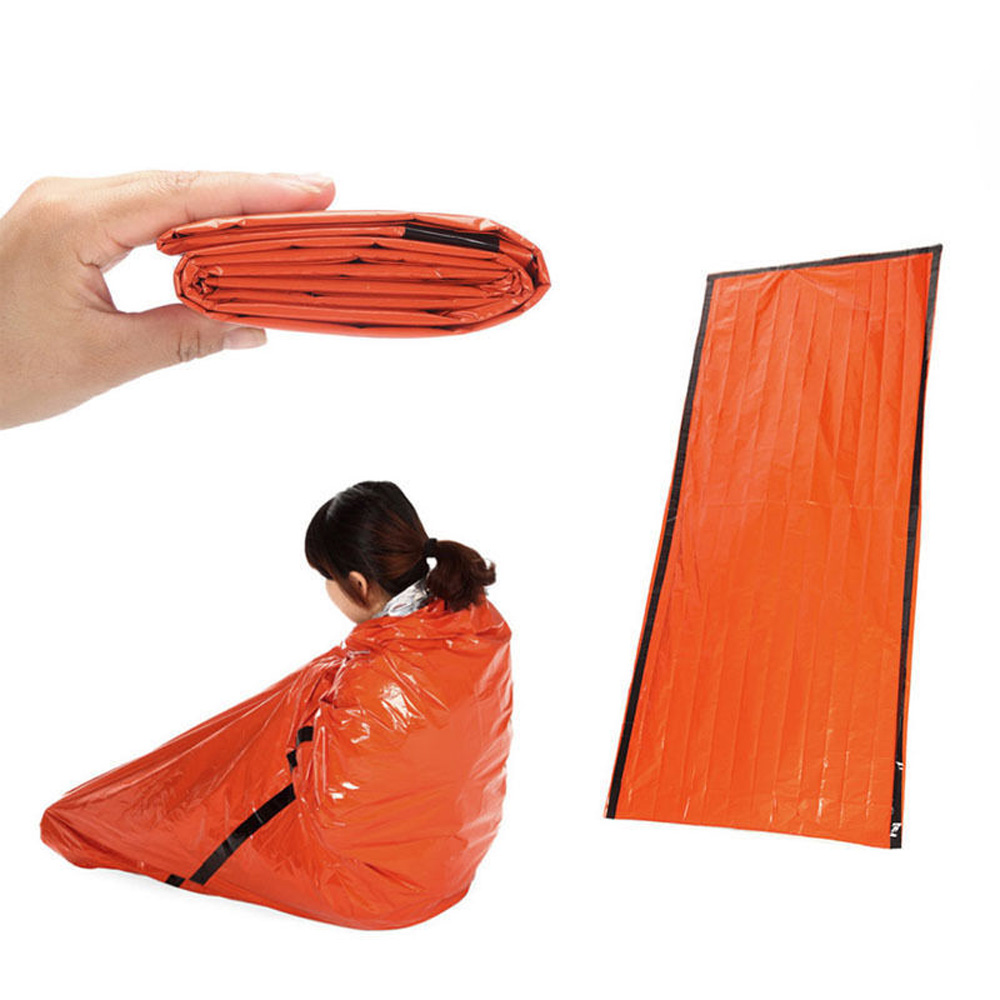 213*91CM Orange Emergency Sleeping Bag Outdoor Camping Survival Tarp Shelter Thermal Mat First Aid Rescue Anti-cold Blanket fire blanket emergency survival fire shelter safety protector white 100 x 100cm