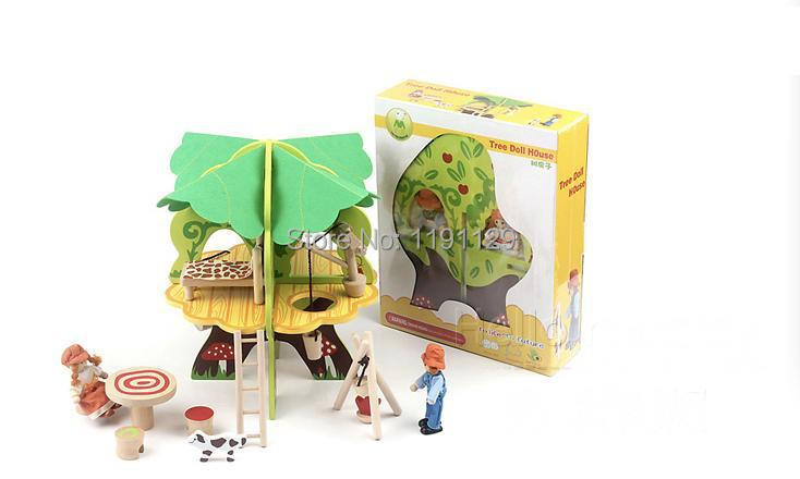 3D wooden puzzles with tree furniture doll house assemble wood toys for kids birthday gifts learning and educational toys puzzles