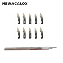 NEWACALOX 12pcs Metal Knife Precision Blades Sculpting Tool Crafts Wood Carving Tools PCB Leather Film Utility Scalpel Razor