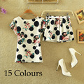 5 Styles Casual Women Sets Clothes 2 Pieces Top T-shirt and Shorts Summer Women Sets Fashion Star Dots Printed Women Suit A35-1