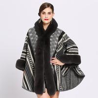 2019 Fashion Stripe Jacquard Imitation Rex Rabbit fur Coat Cloak Women hooded knit Cape Shawl Autumn Winter cloak Outerwear w678