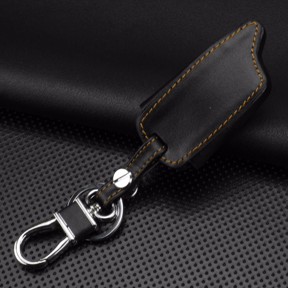 Image 5 - jingyuqin 5 Buttons Remote Leather Key Cover Case For Tomahawk TW9010 TW9030 Two Way Alarm System LCD Controller Keychain-in Key Case for Car from Automobiles & Motorcycles