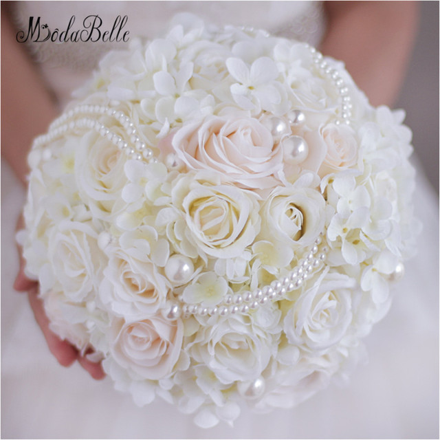 2017 Western Wedding Flowers Bridal Bouquets With Pearls Rose Bouquet White Handmade Artificial Brooch