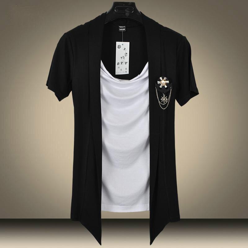 2017 Olmayan Ana sahte Iki adet Kazık Yaka Ünlü Marka T Gömlek - Erkek Giyim
