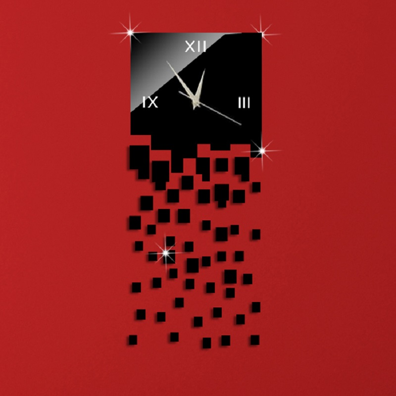 51Pcs Squares Art Modern Luxury Design DIY Removable 3D Crystal Mirror Wall Clock Wall Sticker Living Room Bedroom Decoration designer wall clock wall clock wall clock design - title=
