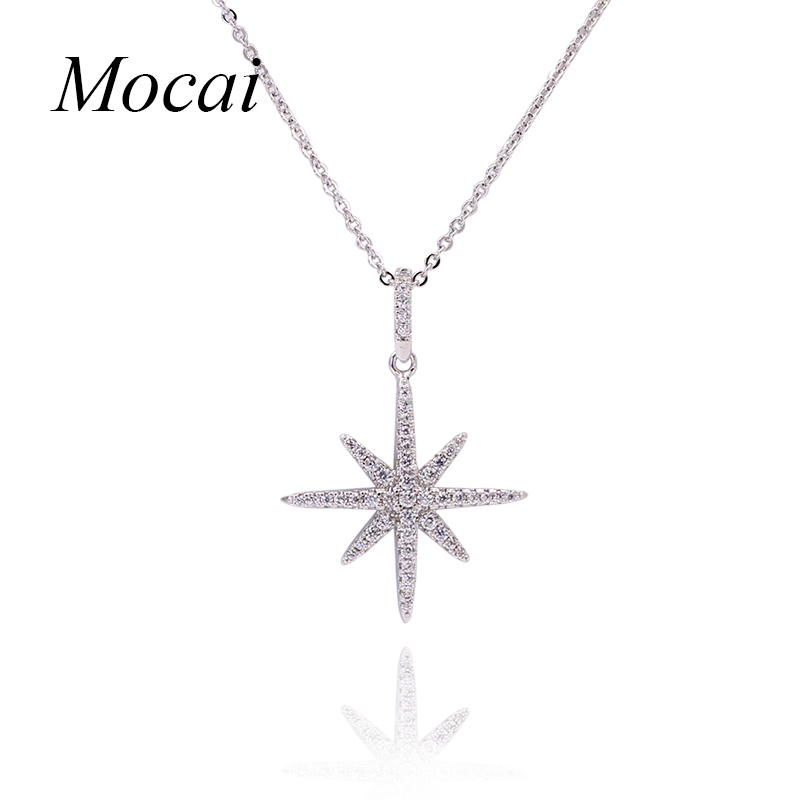 Mocai Silver Color Star Necklaces Big David Stars Punk Chain Pendant Necklace Europe Choker Jewelry For Women Collier ZK30 punk style skull pendant choker necklace for women
