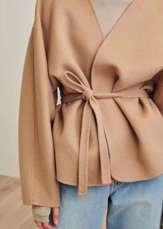 Women Coat 2019 Spring Curved Contour Tie Waist Wool Cashmere Jacket