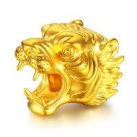 Solid Pure 24K Yellow Gold Bracelet Women 3D 999 Gold Tiger Head Bracelet