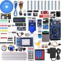 LAFVIN-Mega 2560, Kit de iniciación más completo para Arduino Mega2560 Nano con Tutorial/Fuente de alimentación/Motor paso a paso