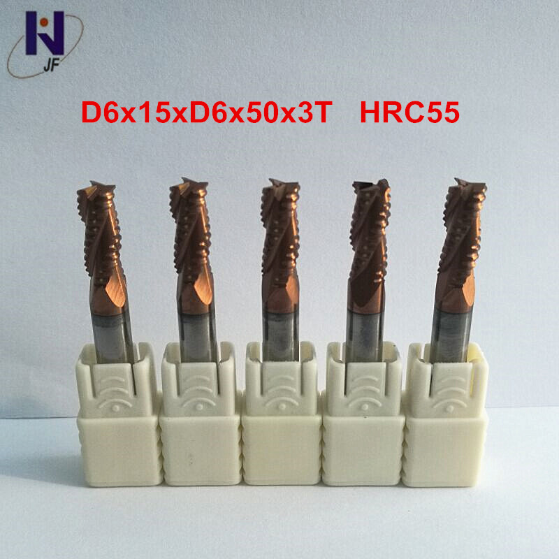 Aletler'ten Freze Kesici'de 5 adet/paket D6x15xD6x50x3T HRC55 TiXCo Kaplı Katı Karbür 3 Flüt hazırlama uç haddesi