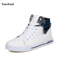Fashion Spring Autumn High Top Men Shoes Casual Breathable Lace Up Plaid PU Skate Shoes Man