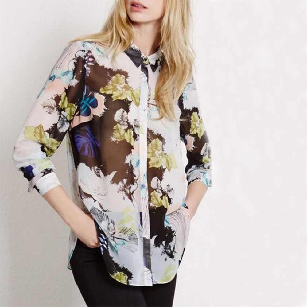 新しい花刺繍シャツ女性シフォンロールアップ袖ボタントップ2018夏ショートスリーブオフィスワークウエアエレガントブラウス
