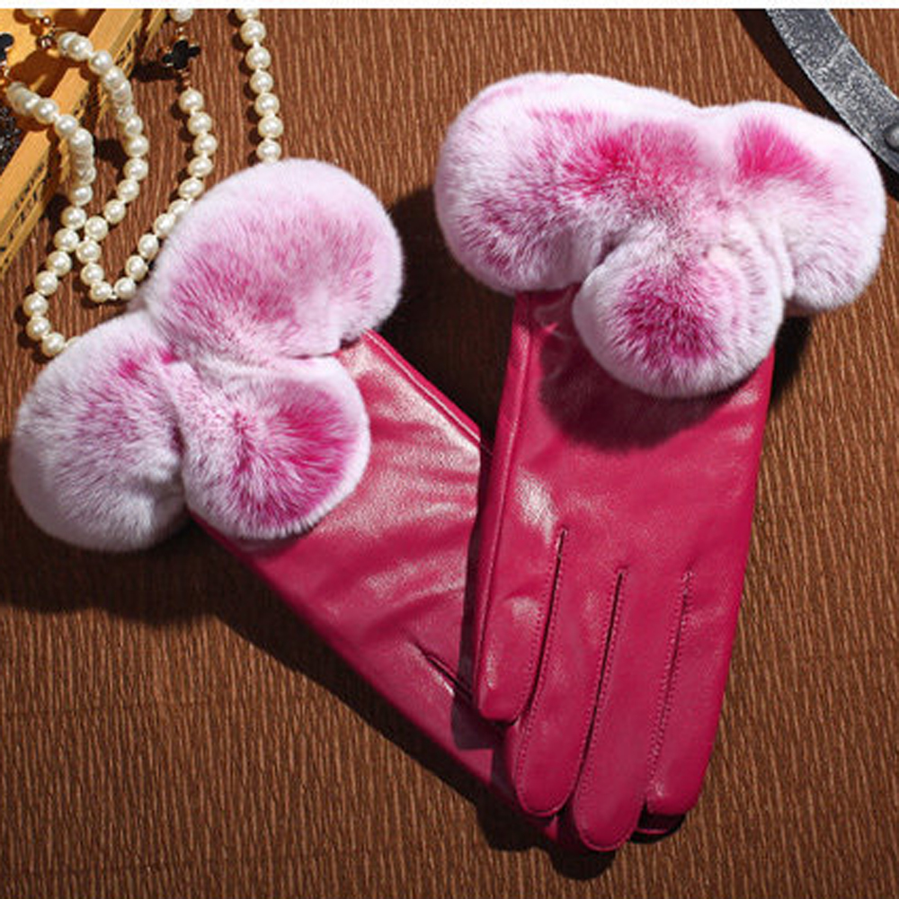 Womens pink leather motorcycle gloves - New Year Gifts For Girls Women Leather Gloves Autumn Winter Lady Warm Rabbit Fur Mittens Pink