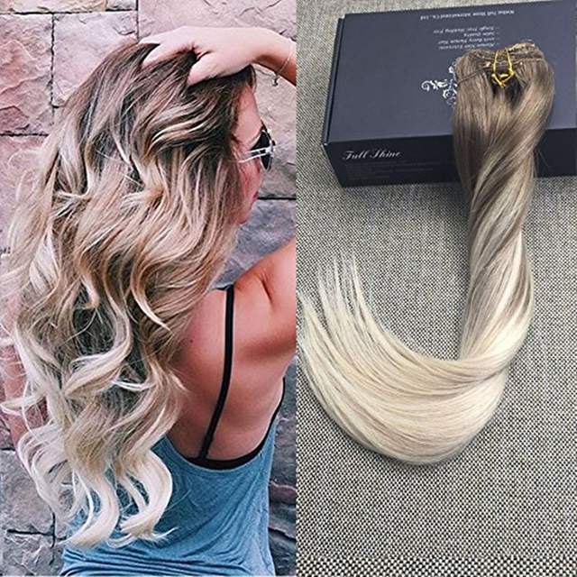 Full Shine High Quality Balayage Clip In Human Hair Extensions Ombre Color 8 Fading To