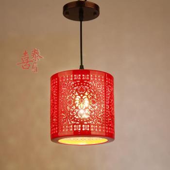 Lampes suspendues en céramique LED à tête unique petites lampes suspendues rondes Restaurant couloir Bar Hall de réception lanterne rouge
