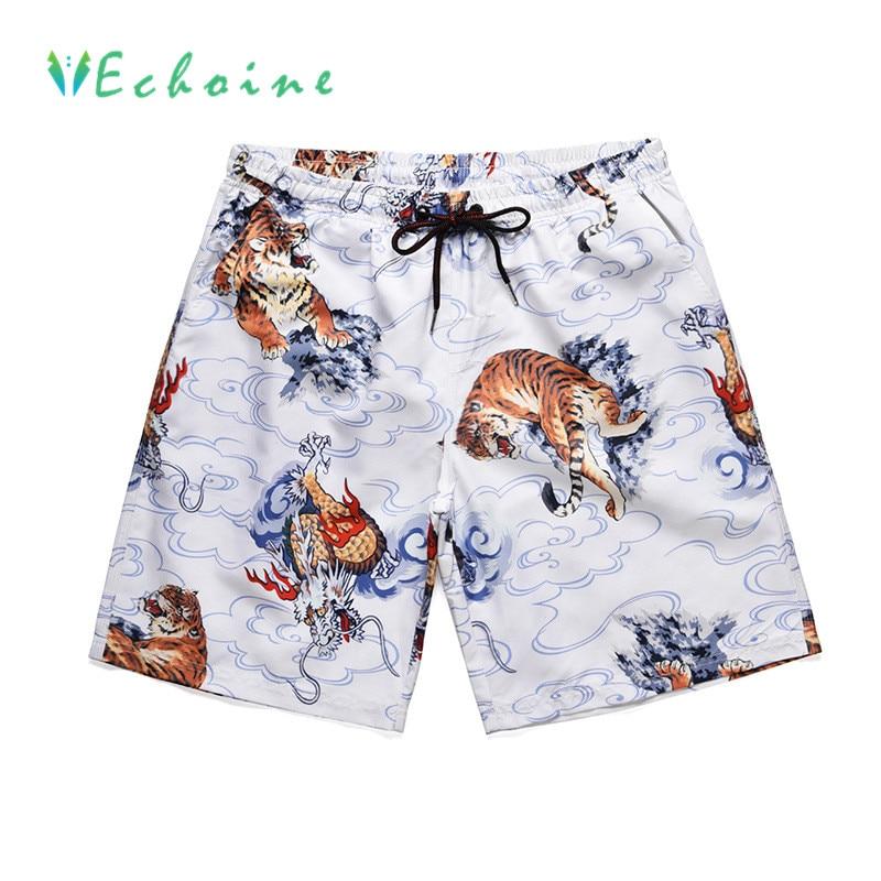 Echoine Plus Größe Marke Mens Strand Shorts Kokospalme Druck Casual Hosen Für Männer Hohe Taille Kordelzug Shorts Surf Shorts