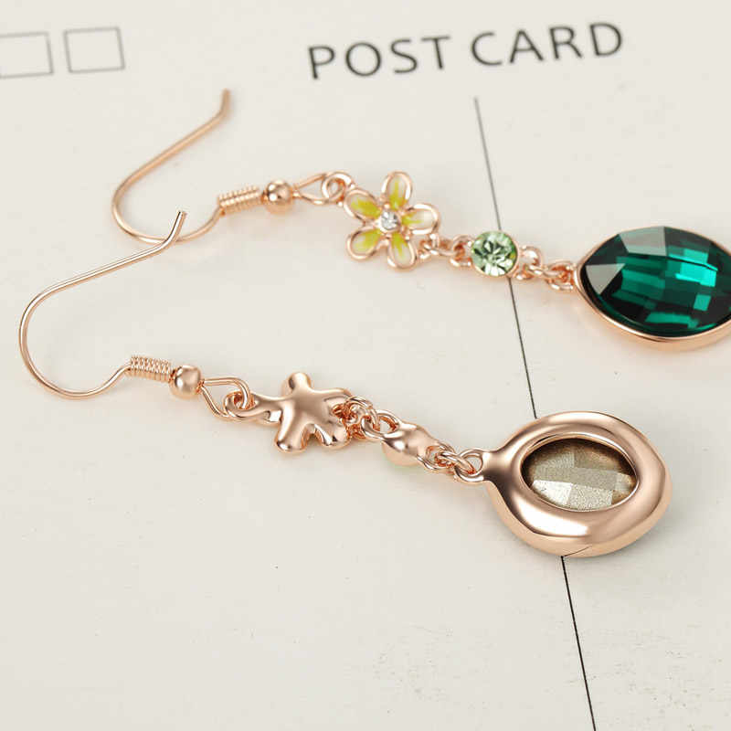 Neoglory Austria Crystal & Rhinestone Drop Earrings Elegant Flower With Oval Design Rose Gold Color Fashion Jewelry For Women