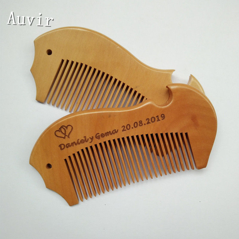 20pcs Personalized Mahogany Comb Wedding Gift Fish Peach Wood Comb Write Names Customized Printing Free Shipping