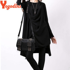 Image 5 - Yogodlns Women Black Leather Messenger Bags Fashion Vintage Messenger Cool Skull Rivets Shoulder Bags sac a main bolsa