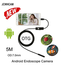 JCWHCAM 5M Micro USB Android Endoscope Camera 7mm Len Flexible Snake USB Pipe Portable Inspection Micro USB Borescope Camera цена