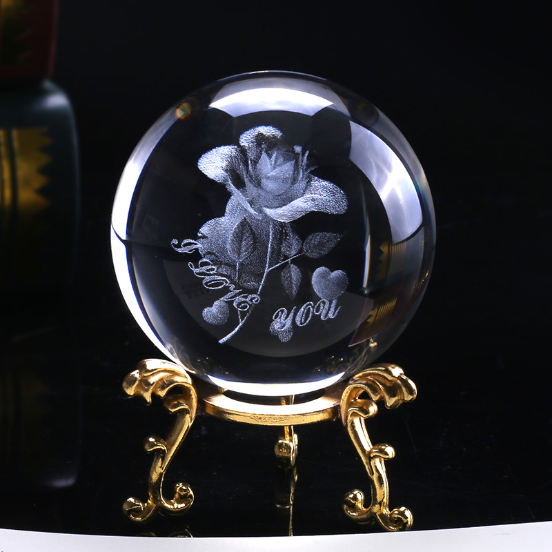 6cm Crystal Rose Ball 3D Miniature Flower Glass Sphere Laser Engraved Globe Gift Wedding Gift Ornament Home Decro Valentines Day