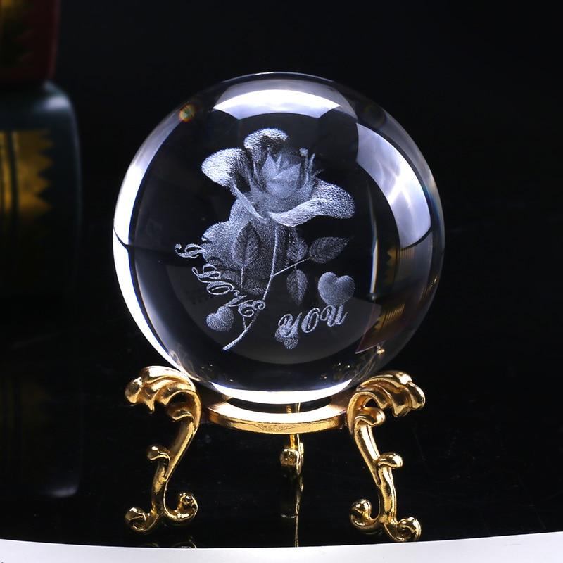 6cm Crystal Rose Ball 3D Miniature Flower Glass Sphere Laser Engraved Globe Gift Wedding Gift Ornament Home Decro Valentines Day|Decorative Balls| |  -
