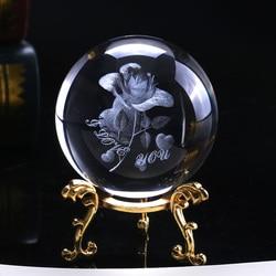 6cm Crystal Rose Bola 3D Esfera De Vidro Em Miniatura Flor Gravado A Laser Globo Ornamento Presente de Casamento Início Decro Presente Dos Namorados dia