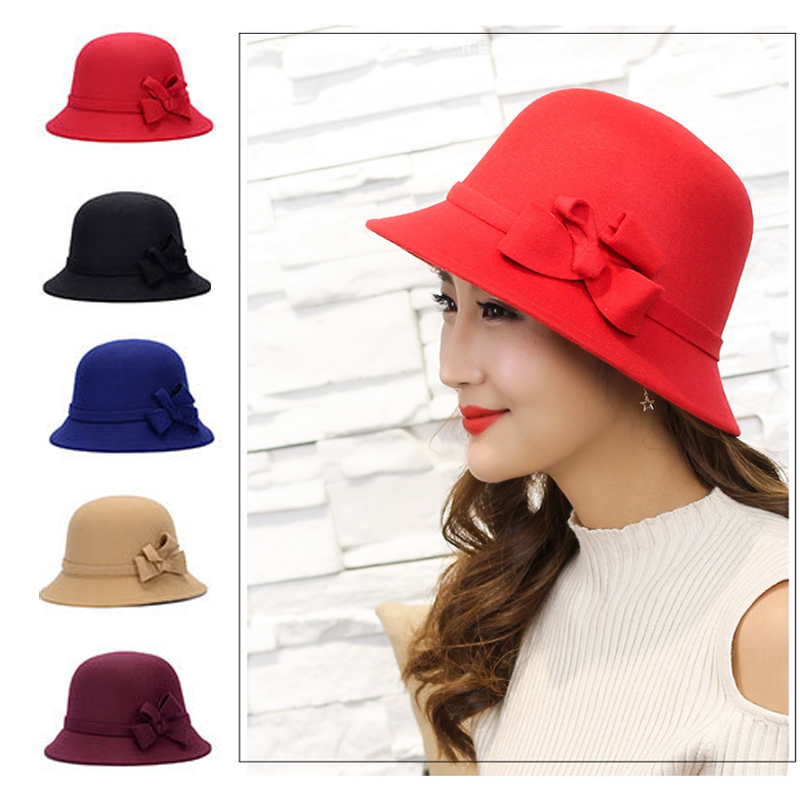 Широкополая шляпа винтажные шляпы дамская шляпа с бантом Повседневная шерстяная зимняя фетровая шляпа Регулируемая пляжная дорожная