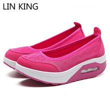 LIN KING Breathable Mesh Slip On Women Swing Shoes Height Increase Platform Shoes Lady Casual Loafers Zapatos Mujer Plus Size 42 new fashion elevator height increasing casual shoes women slip on lazy korean thick bottom breathable mesh loafers zapatos mujer