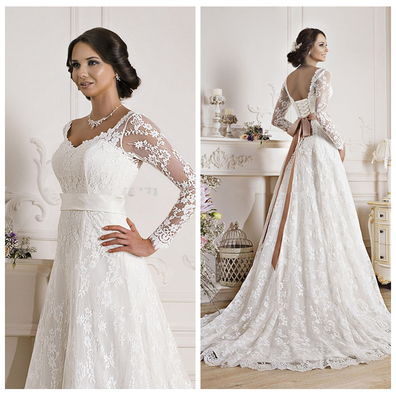 Petite Gowns For Weddings: Modest Lace Long Sleeves A Line Wedding Dress With Ribbon