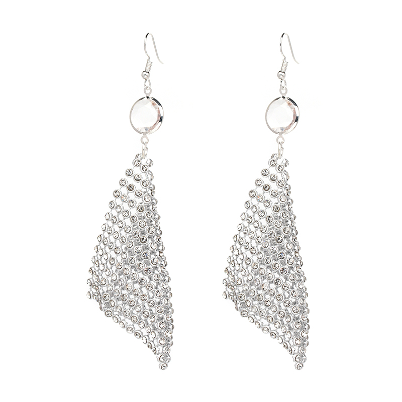 6 Colors Fashion Trendy Statement Jewelry Net Drops Earring Chain Mail With Stones Dangle Earrings For Women Wholesale F50376