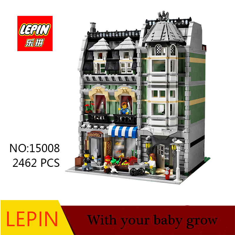 DHL lepin 15008 2462Pcs Genuine New City Street Green Model Building Kit Blocks Bricks Toy Gift Compatible with legoed 10185 lepin 15008 new city street green grocer model building blocks bricks toy for child boy gift compatitive funny kit 10185 2462pcs