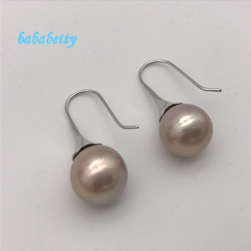 New AA12 13 mm real natural purple south sea pearl 925 sterling silver earrings