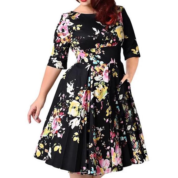 3xl-9xl Large Size Women Dress Black Back Zipper Floral Printed Tunic Big Swing Dress Plus Size Dresses For Women Af851