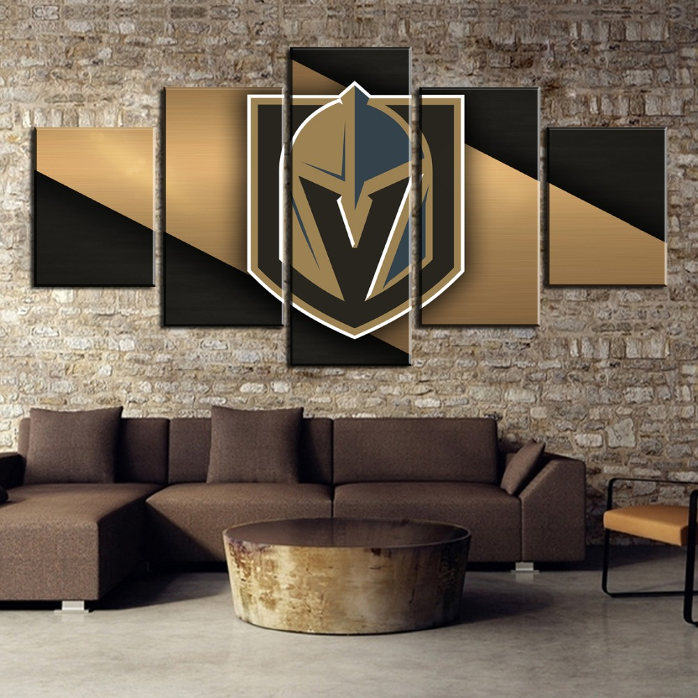 Artwork <font><b>Poster</b></font> HD Print Home Decor 5 Pieces Ice Hockey Sport Soldiers <font><b>Logo</b></font> Pictures Wall Art Living Room Modular Canvas Painting image