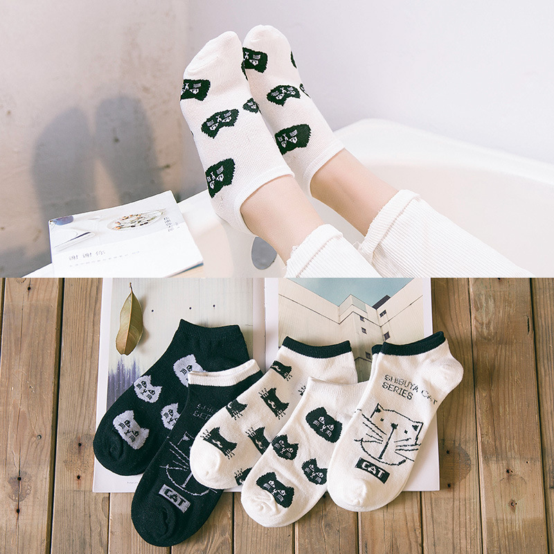 Women Funny cartoon   socks   spring and summer cat head boat   socks   black and white cat cotton   socks   Hot Selling 1 Pair