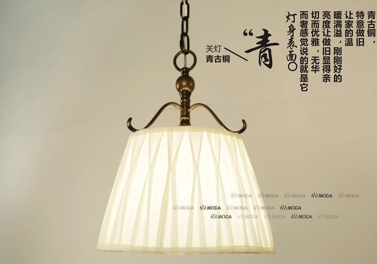Brassy / Bronze American Countryside Retro Style Wrought Iron Pendant Light Cloth Art Coffee Shop Decoration Lamp Free Shipping