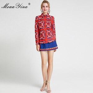 Image 2 - MoaaYina แฟชั่นชุดฤดูใบไม้ผลิฤดูร้อนผู้หญิงแขนยาวลายดอกไม้   พิมพ์เสื้อ + กางเกงขาสั้นสองชิ้นชุด